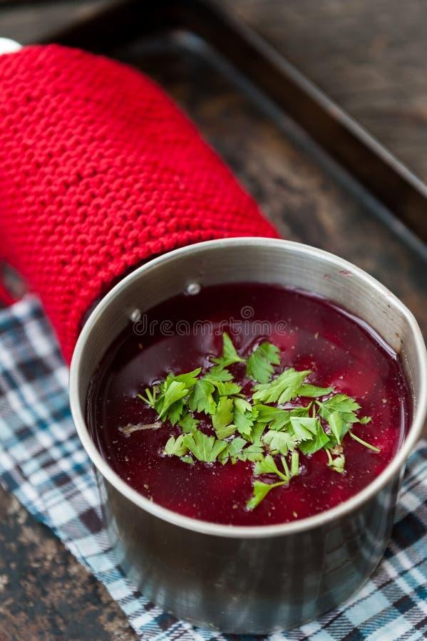 Traditional Romanian borsh. Traditional Romanian vegetables soup - borsh stock photos
