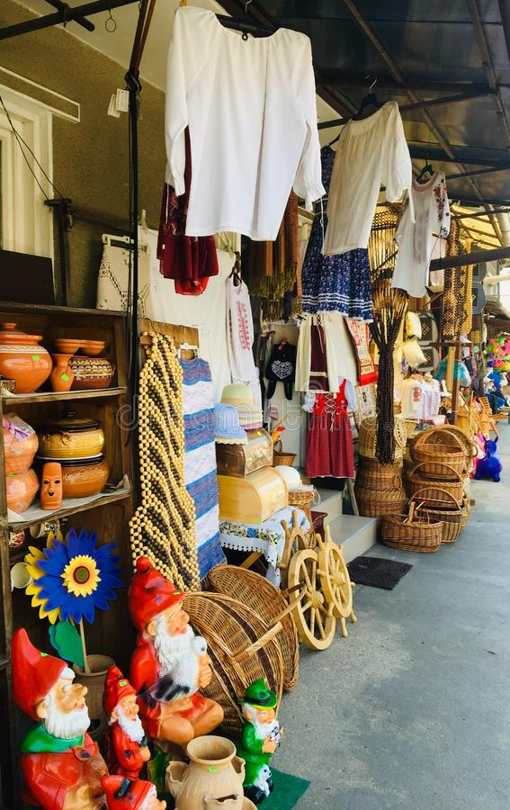 Traditional romanian clothes and souvenirs royalty free stock photos