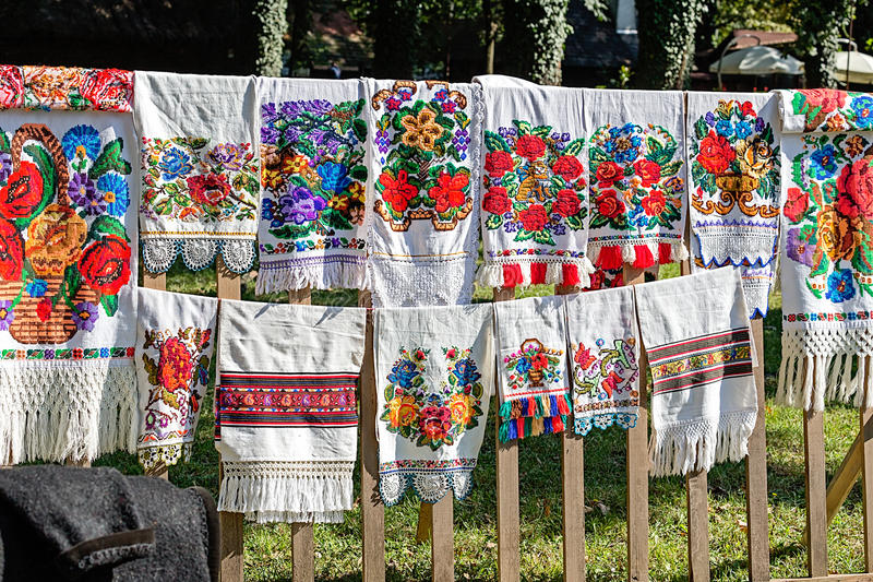Traditional Romanian folk embroidery. Bistrita-Nasaud area. royalty free stock images