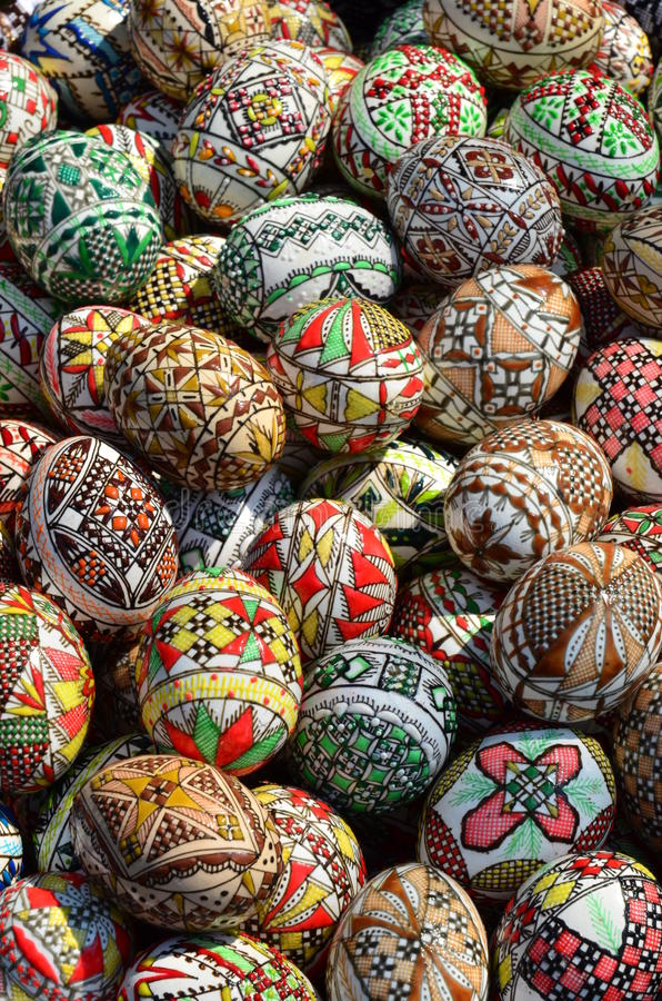 Traditional romanian handcrafted Easter eggs stock photography