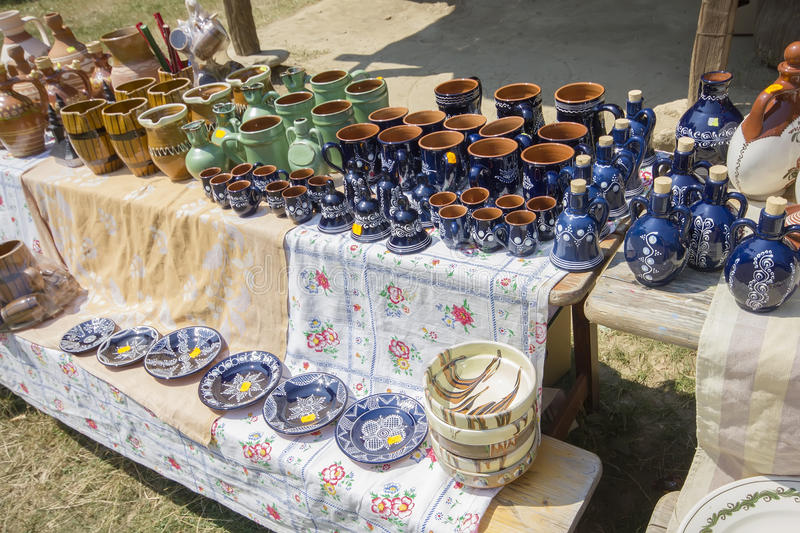 Traditional romanian pottery stock image