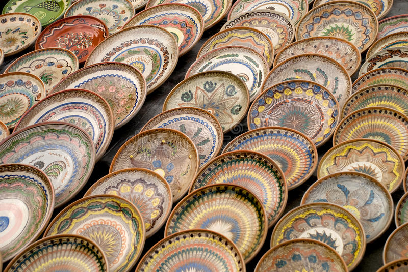 Traditional romanian pottery plates royalty free stock photos
