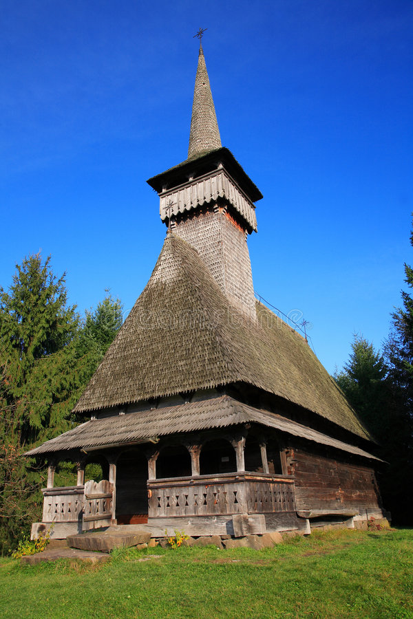 Traditional romanian wooden church stock photography