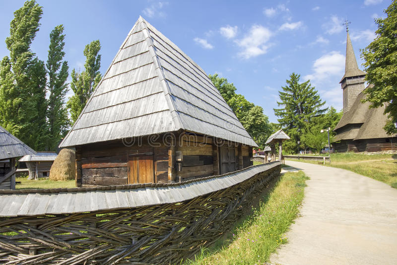 Traditional romanian wooden house stock photo