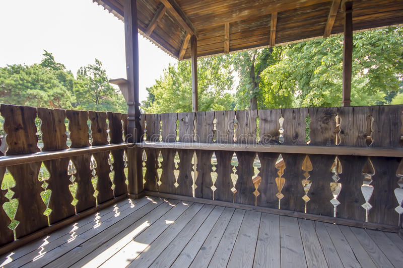 Traditional romanian wooden porch stock images