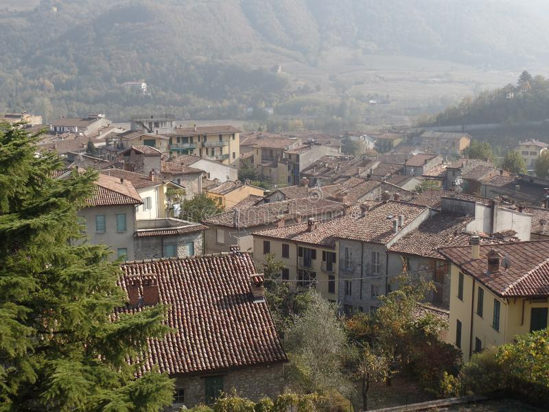 Traditional rooftops in a northern Italian village royalty free stock photo