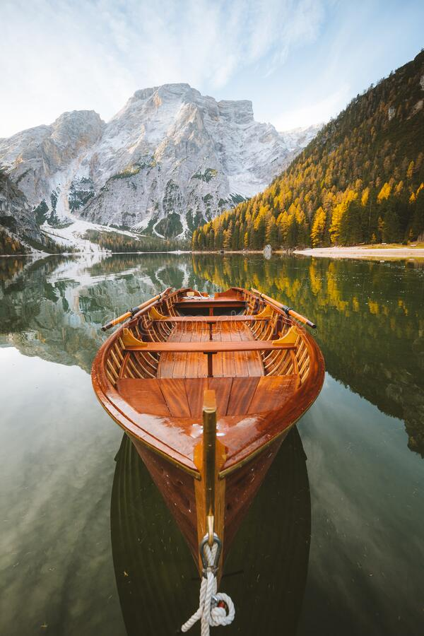 Free Traditional Rowing Boat At Lago Di Braies At Sunrise In Fall, South Tyrol, Italy Royalty Free Stock Photography - 188990987