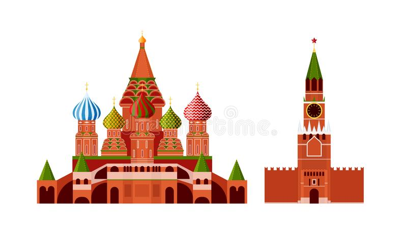 Traditional russian architecture. Russian culture, landmarks and symbols. Architectural building Kremlin and St. Basil`s Cathedral, Moscow, monuments. Travel stock illustration