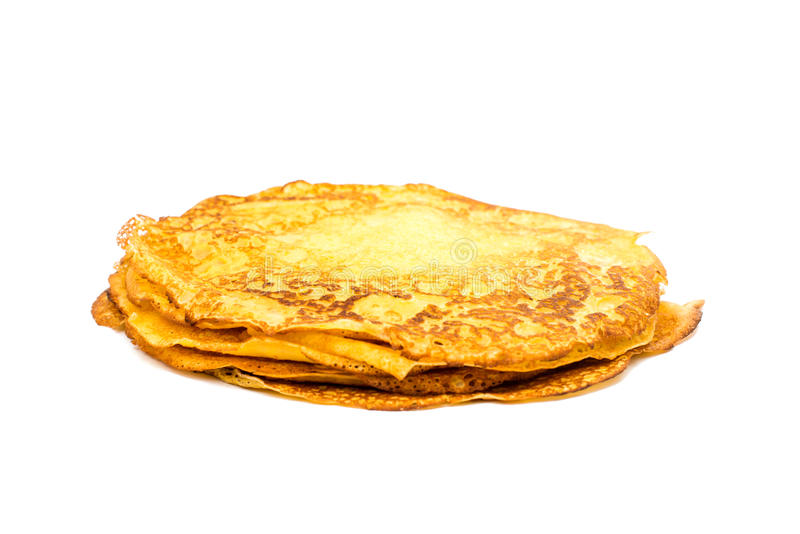 Traditional russian crepes. Isolated on white stock photography