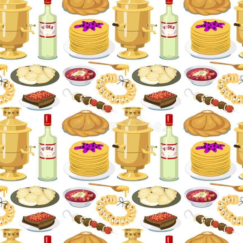 Traditional Russian cuisine seamless pattern background culture dish course food welcome to Russia gourmet national meal. Illustration. Homemade appetizer vector illustration