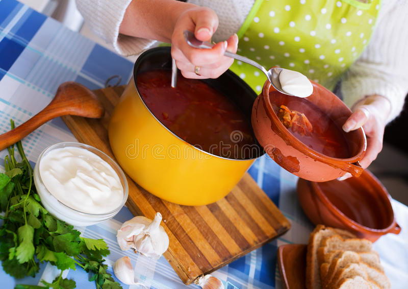 Traditional Russian hot beetroot soup royalty free stock image