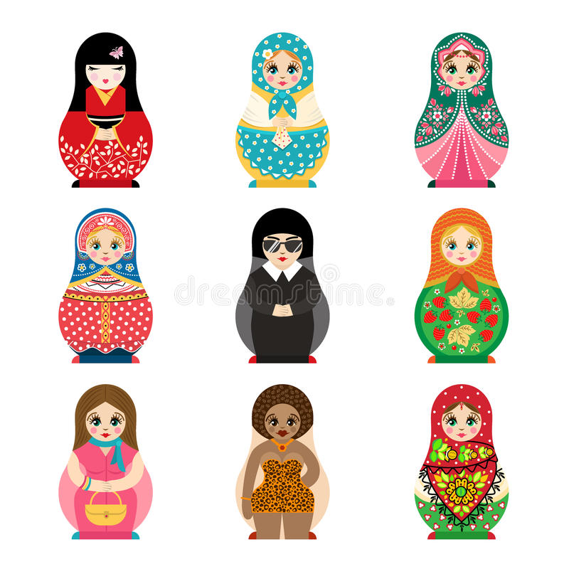 Traditional russian matryoshka toy set with handmade ornament figure pattern with child face and babushka woman souvenir vector illustration