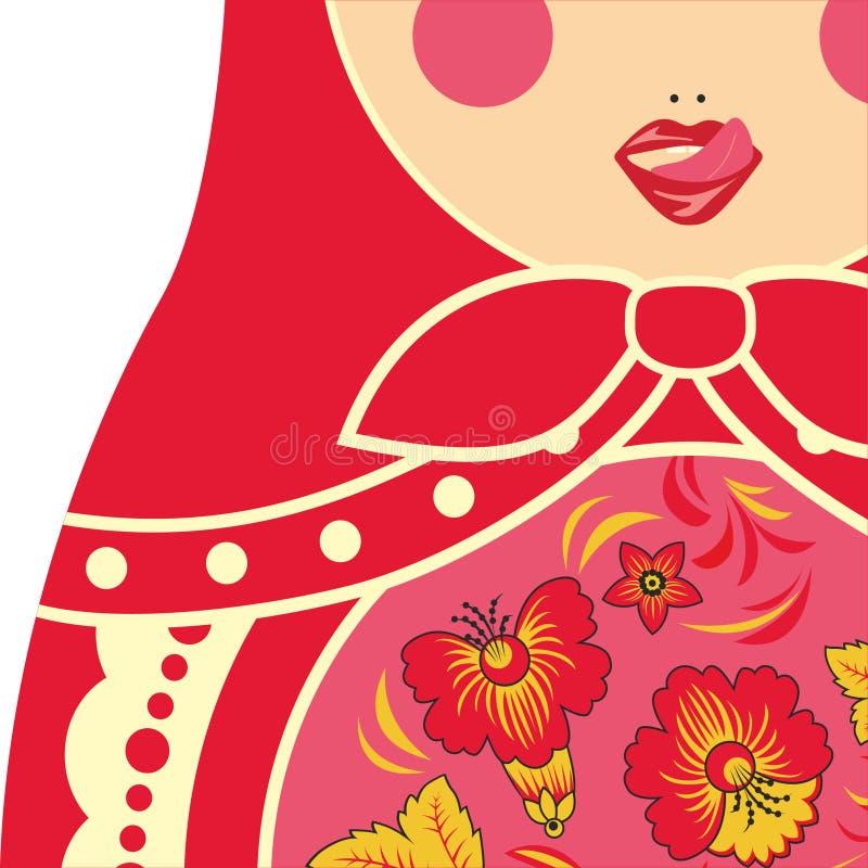 Traditional russian nesting doll matryoshka licking her lips. stock illustration