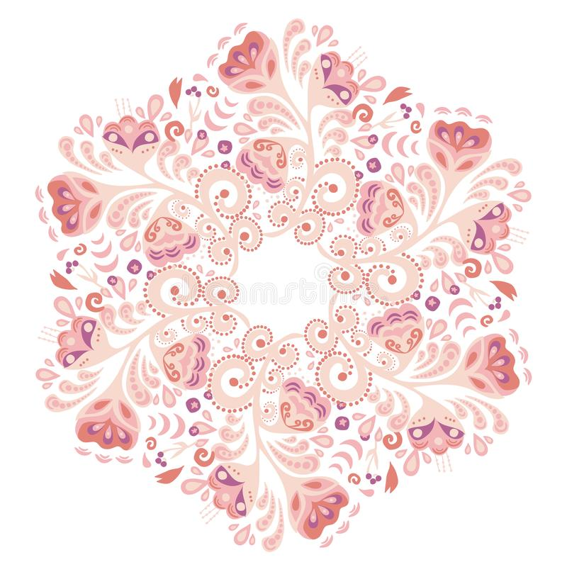 Traditional Russian ornament with elements of folk Khokhloma style. A floral print in gold colors. royalty free illustration