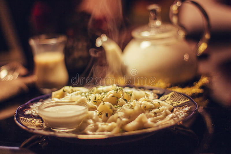Traditional russian pelmeni stock photo