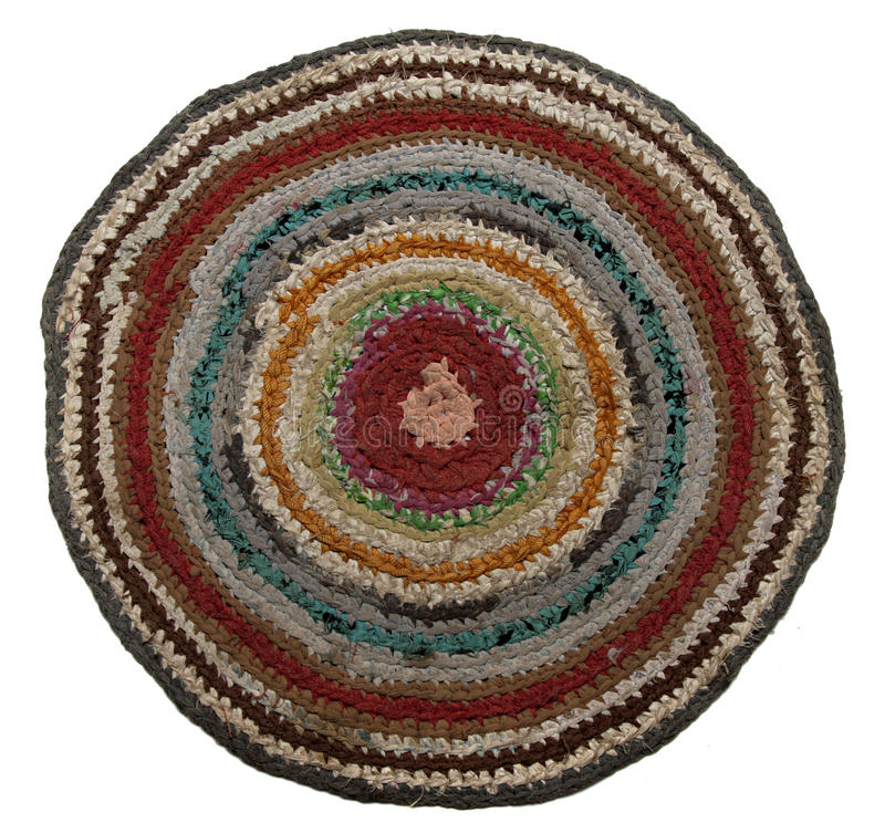Traditional Russian round knit Mat handmade. royalty free stock photo