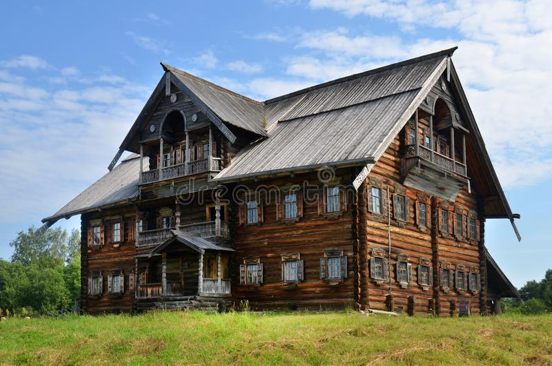 Traditional russian rural wooden house stock images