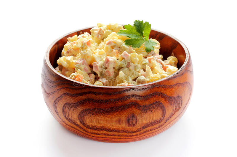 Traditional Russian salad Olivier. New Year food royalty free stock image