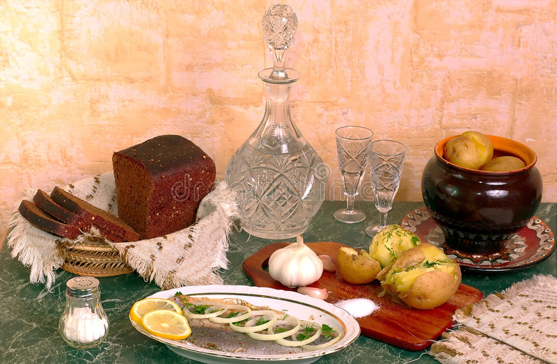 Traditional russian talbe royalty free stock photo