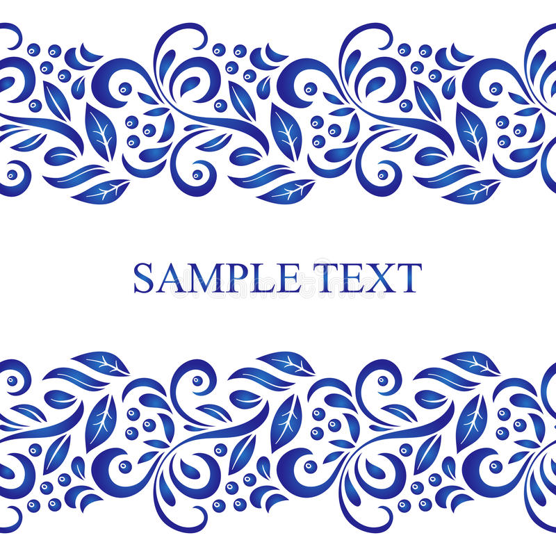 Traditional Russian vector seamless pattern frame in gzhel style. Can be used for banner, card, poster, invitation etc. Traditional Russian vector seamless stock illustration