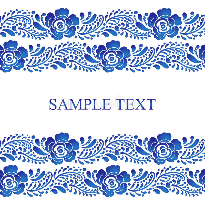 Traditional Russian vector seamless pattern frame in gzhel style. Can be used for banner, card, web design etc. Traditional Russian vector seamless pattern frame vector illustration
