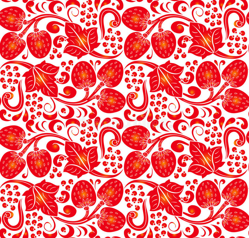 Traditional Russian vector seamless pattern in khokhloma style. Can be used for banner, card, poster, invitation etc. Traditional Russian vector seamless royalty free illustration