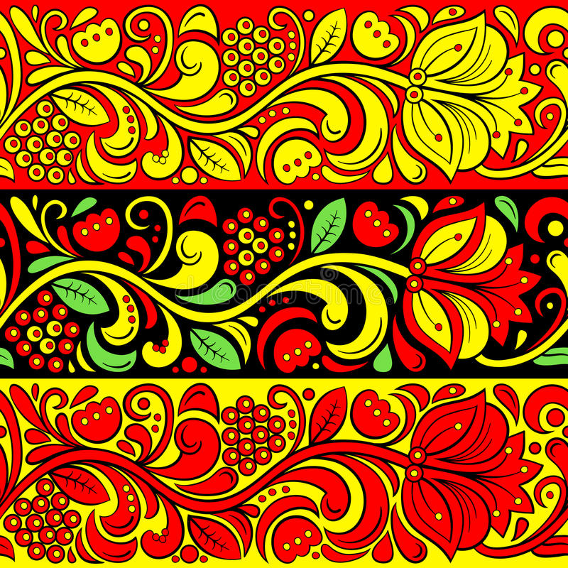Traditional Russian vector seamless pattern in khokhloma style. Hohloma Russian folk native ornament. Traditional Russian vector seamless pattern in khokhloma vector illustration