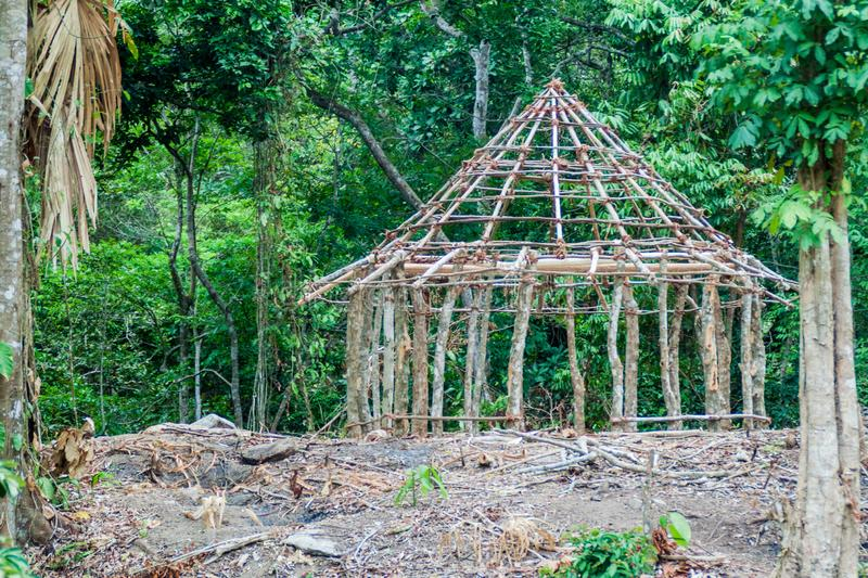Traditional rustic house of indigenous Kogi people. Is under construction in Tayrona National Park, Colombia stock photos
