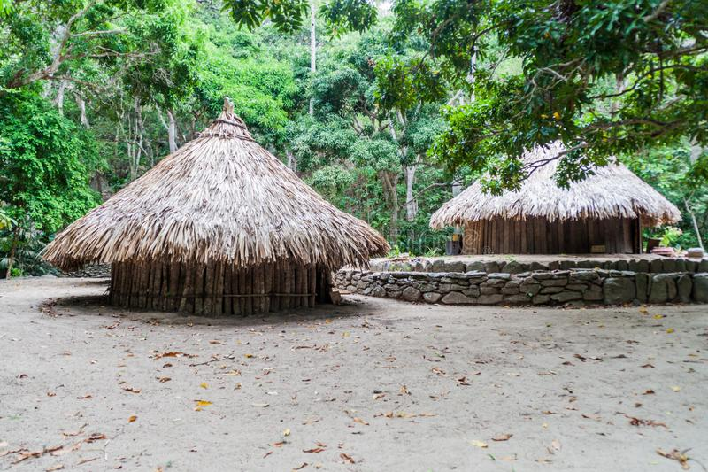 Traditional rustic houses of indigenous Kogi people. In Tayrona National Park, Colombia stock images