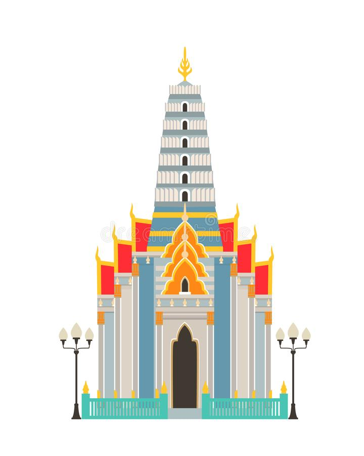 Traditional rustic Thai temple. Religious luxury building, house. vector illustration