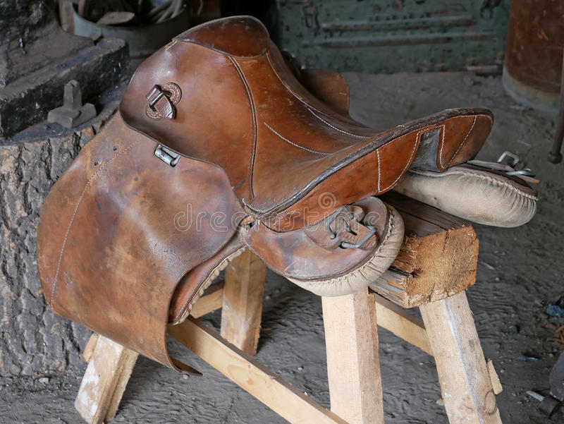 Traditional Saddlery Workshop. Horse saddle. Traditional Saddlery Workshop royalty free stock photography