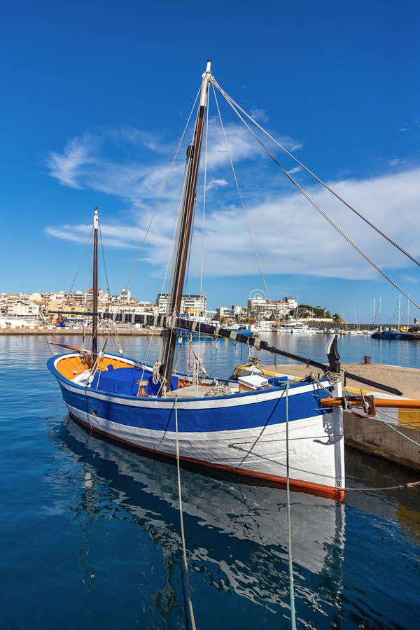 Traditional sail ships in the harbor Palamos in Costa Brava of Spain.  stock images