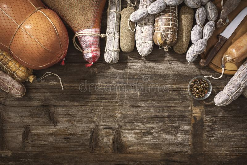 Traditional salami and assorted cured meat royalty free stock photos