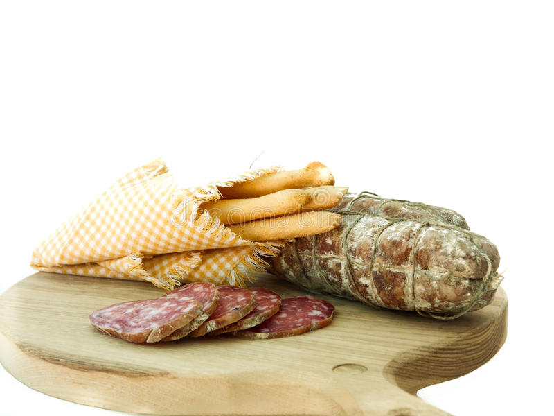 Traditional Salami With Bread-sticks Stock Image