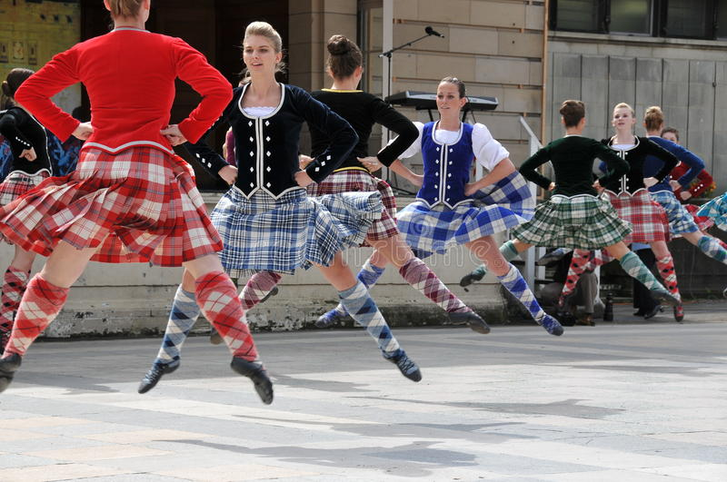 Traditional Scottish dancers Edinburgh Tattoo stock images
