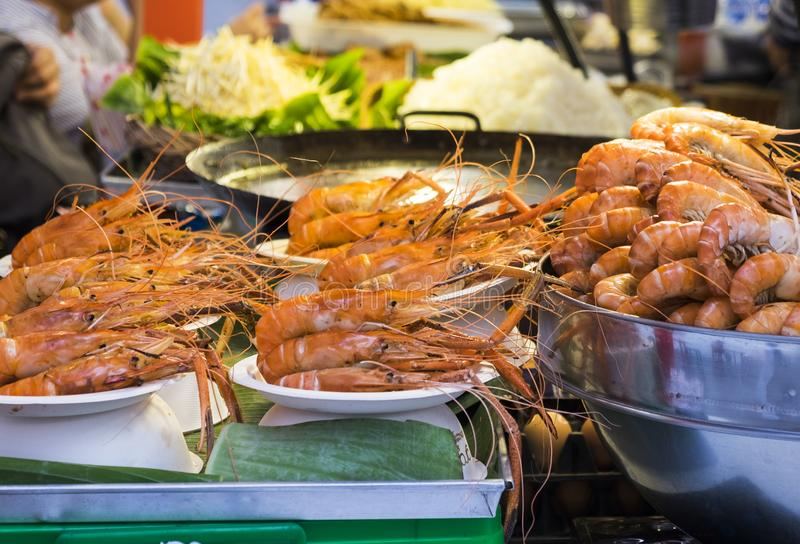 Traditional sea food in the street of Thailand stock photography