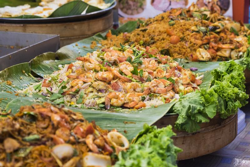 Traditional sea food in the street of Thailand stock image