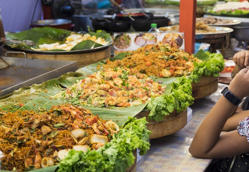 Traditional sea food in the street of Thailand stock photo