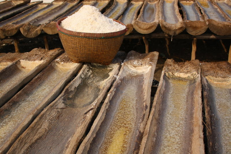 Traditional Sea Salt from Amed - Bali stock photos