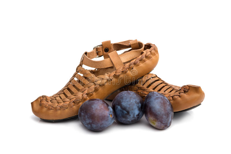 Traditional Serbian shoes royalty free stock photos