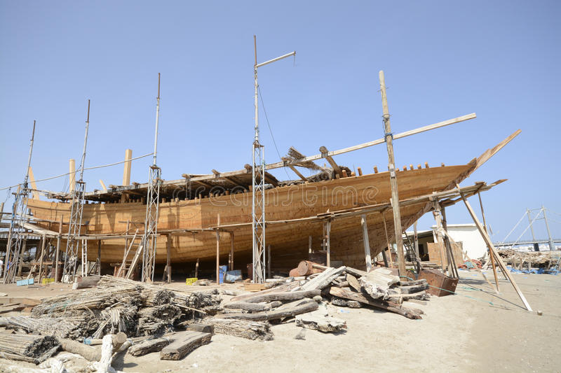 Traditional shipbuilding in Oman royalty free stock images