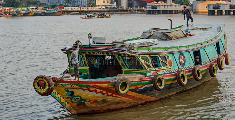 Traditional ships in Palembang, Indonesia. Musi royalty free stock photos