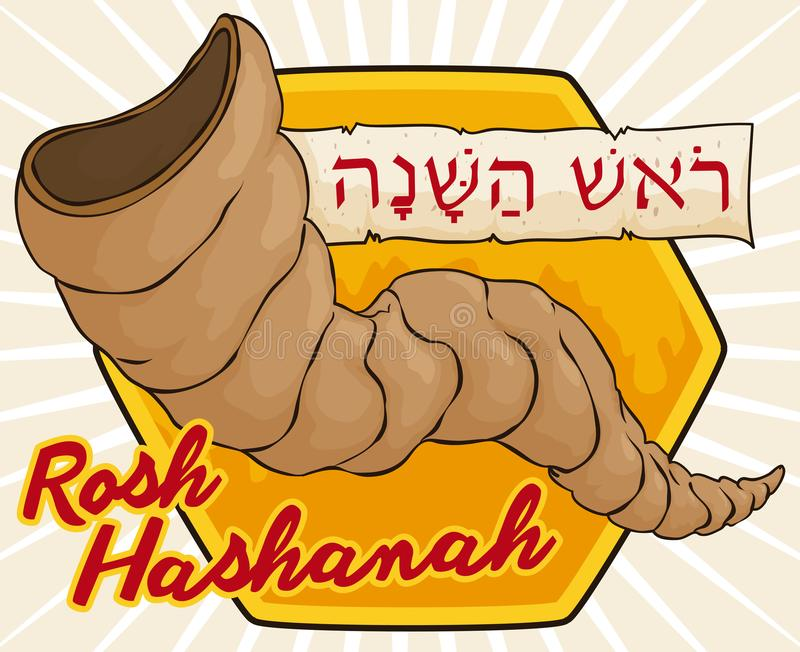 Traditional Shofar over Honey and Scroll for Rosh Hashanah Celebration. Poster with traditional Shofar horn to be blown in Rosh Hashana -or Jewish New Year vector illustration