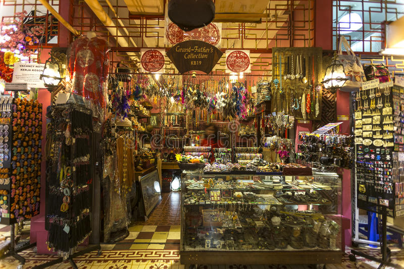 Traditional shop costume jewelry and souvenir items stock photo