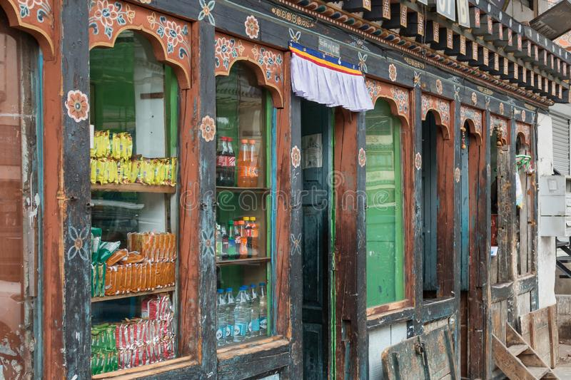 Traditional shop selling local goods in Thimphu, the small capital city of Bhutan. In Central Asia stock images