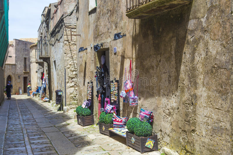 Traditional Sicilian arts on display in Erice, Sicily, Italy.  royalty free stock photo