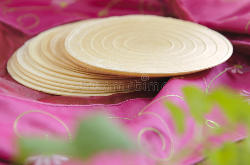 Traditional Silesian Oblaty (Poland). The silesian oblaty a round crispy wafers with different tastes - garlic, onion, nut, etc stock photo
