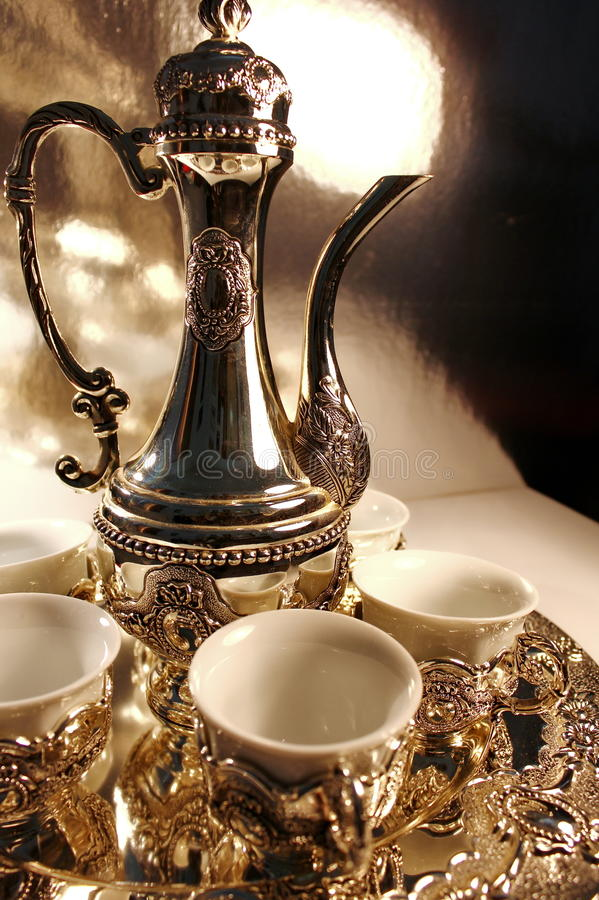 Traditional silver tea pot royalty free stock images