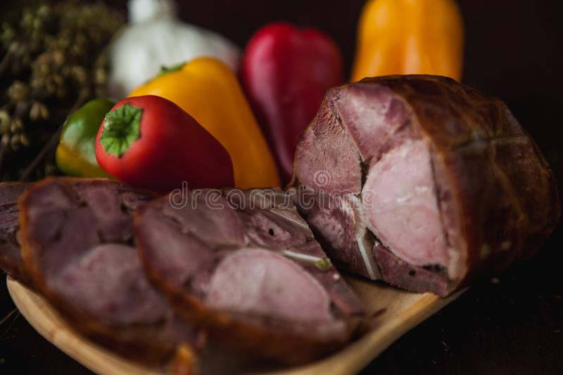 Traditional simple meal setup with meat and vegetables. And lemon royalty free stock images
