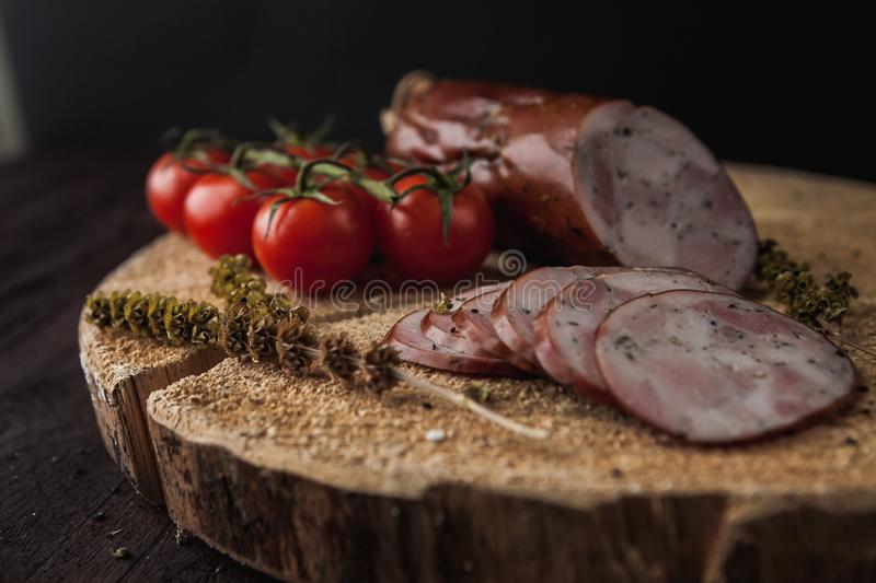 Traditional simple meal setup with meat and vegetables stock photography